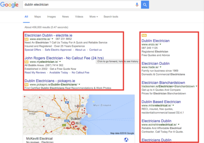 Google Adwords Search Engine Results Page Screenshot